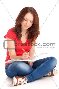 Student sitting and studying