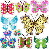 Set fantasy butterflies