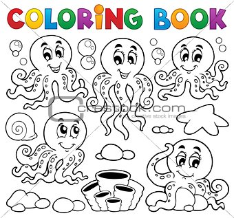 Coloring book octopus theme 1