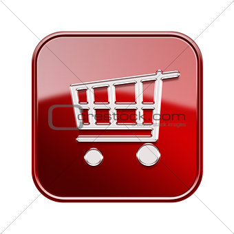 shopping cart icon glossy red, isolated on white background