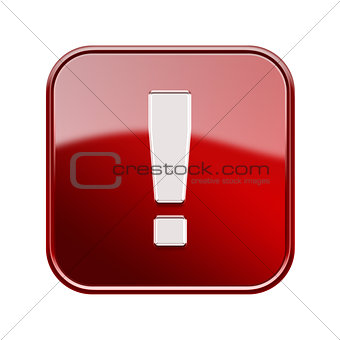 Exclamation symbol icon glossy red, isolated on white background