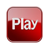 Play icon glossy red, isolated on white background