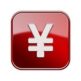 Yen icon glossy red, isolated on white background