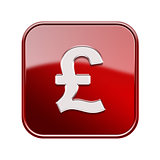 Pound icon glossy red, isolated on white background