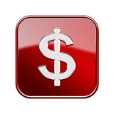 Dollar icon glossy red, isolated on white background