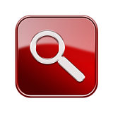 Magnifier icon glossy red, isolated on white background