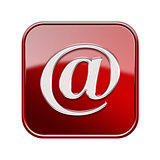 Email symbol icon glossy red, isolated on white background