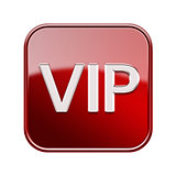 VIP icon glossy red, isolated on white background