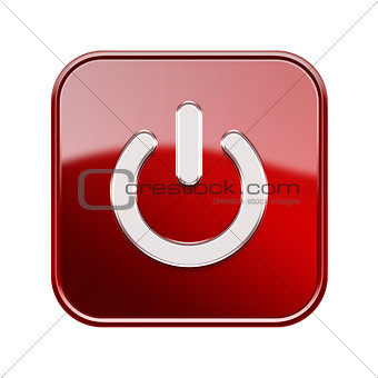 Power button icon glossy red, isolated on white background