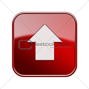 Arrow up icon glossy red, isolated on white background
