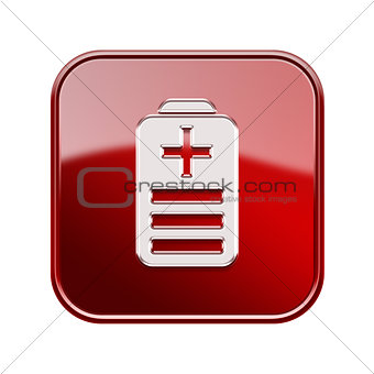 Battery icon glossy red, isolated on white background