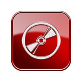 Compact Disc icon glossy red, isolated on white background