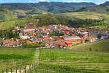 Town of Barolo among hills. Piedmont, Italy.