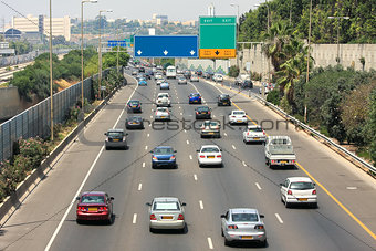 Freeway traffic. Tel Aviv, Israel.