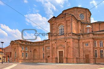 Brick church in Venaria Reale, Italy.