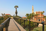 St. Peter Church and wooden bridge in Yafo, Israel.