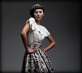 Stately Fascinating Woman in Classic Elegant Blouse and Skirt. Aristocracy