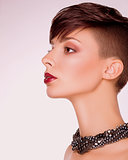 Neatness. Profile of Trendy Short Hair Woman. Bob Haircut