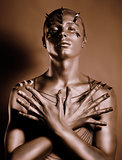 Coloring. Bodyart. Bronze Painted Man's Body in Shadow. Grace