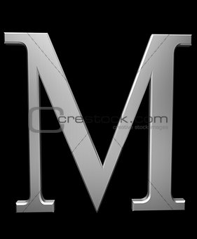 Letter M in brushed steel