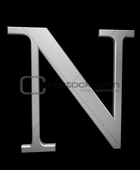 Letter N in brushed steel
