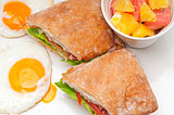 ciabatta panini sandwich eggs tomato lettuce