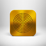 Technology App Icon with Gold Metal Texture