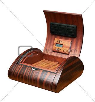 Opened humidor with cigars