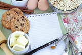 Recipe Book and Ingredients for Baking