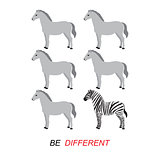 &quot;Be different&quot; vector - zebra and horses