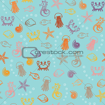 Seamless pattern with colorful sea animals