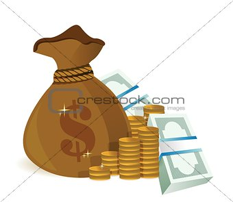 money bag illustration design graphic