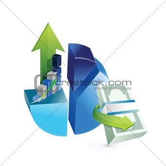 set of business graphs illustration design