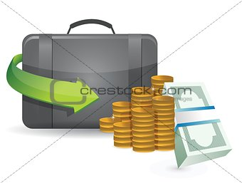suitcase full of money illustration