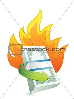 monetary concept on fire. crisis concept i