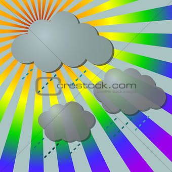 Rainy in rainbow rays with clouds