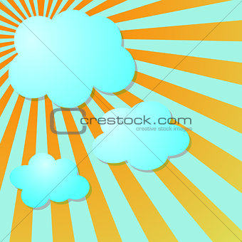 Summer blue sky with sun radial rays and clouds