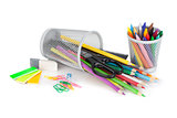 Various colorful pencils and office tools