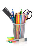 Various colour pencils and office tools