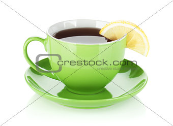 Green tea cup with lemon slice