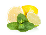 Fresh lemon and mint leaves