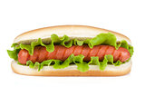 Hot dog with lettuce