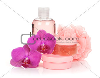 Cosmetics and orchid flowers