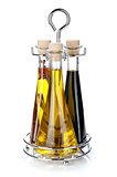 Set of olive oil and vinegar bottles