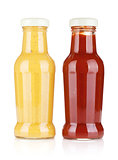 Mustard and ketchup glass bottles