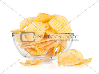 Potato chips in glass bowl