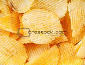 Potato chips closeup