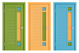 Colorful modern doors on white