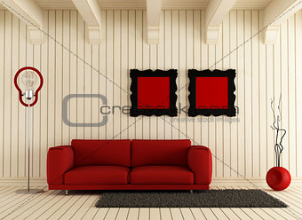 red couch in wooden room