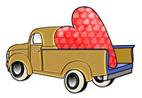 Gold truck with huge valentine